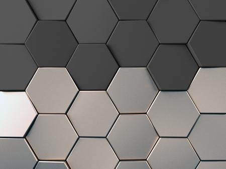 Hexagonal metal background. Silver, alluminium 3d rendering