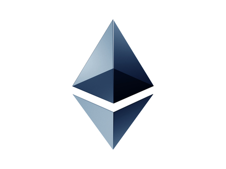 Ethereum crypto currency metal shiny art icon for apps and websites. Ethereum  3d illustration Stock Photo