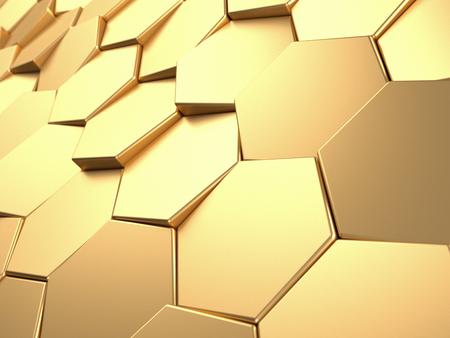 Hexagonal golden background. Metal surface 3d rendering Фото со стока