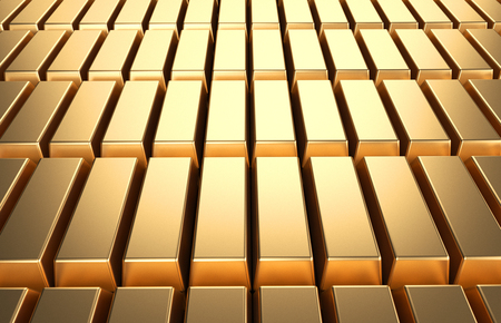 Gold bars and Financial concept background3d rendering