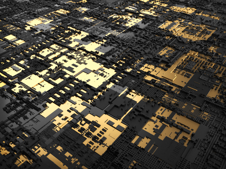 Technology Golden City Abstract Design Background 3D Illustration Фото со стока
