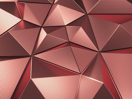 Rose Gold Polygonal Metal Abstract Background 3D Rendering