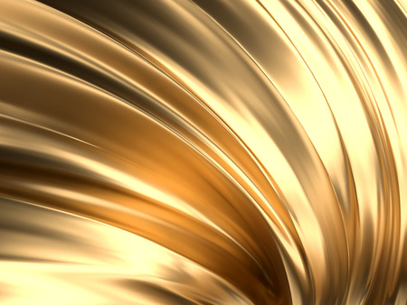 Gold Wave Abstract Background 3D Rendering Фото со стока