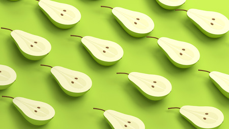 Isolated pears. Half green pear fruit isolated on green background 3D rendering