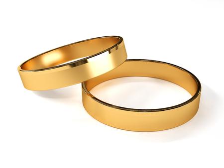 Golden wedding rings isolated on white 3d illustration