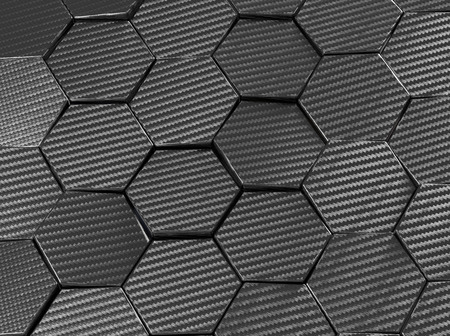 Carbon fiber hexagon abstract background 3D Illustration Фото со стока