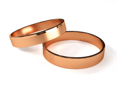 Rose gold wedding rings isolated on white 3d rendering
