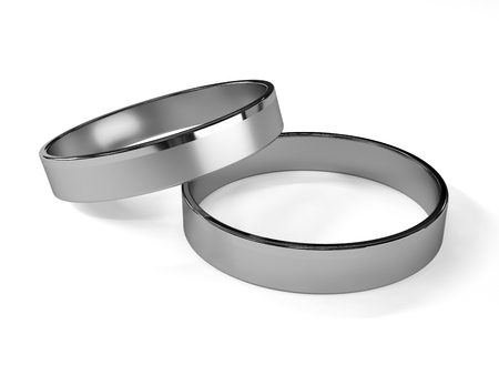 White gold wedding rings isolated on white 3d rendering