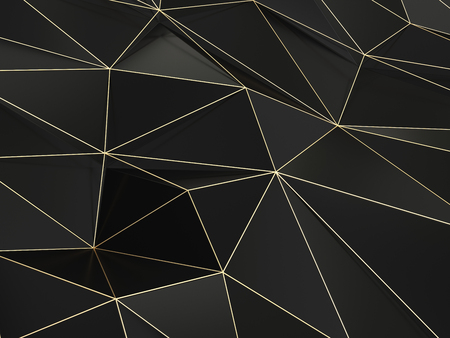 Black Polygonal Shape with Lovely Reflections 3D Illustration
