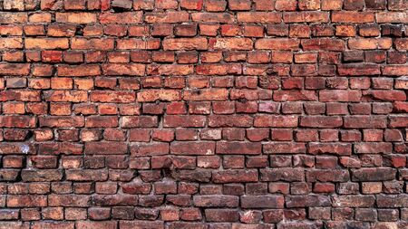 Red brick wall texture for interior design. Brick wall for background.