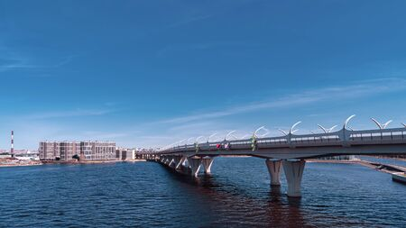 Motorway over the sea in Saint Petersburg during the day.
