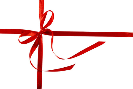 Thin red bow with crossed ribbon, isolated on white background