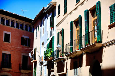 housing style: Palma de Mallorca.  old city .  street in Balearic islands