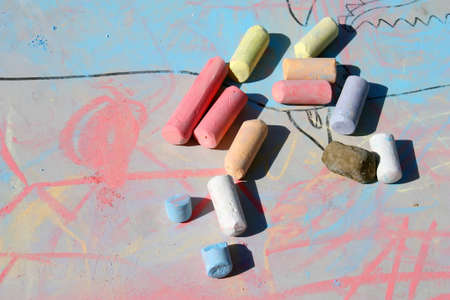 early summer:  different coloured crayons for  art Stock Photo