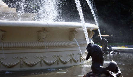fountain in Saxon garden in Warsaw, Poland photo