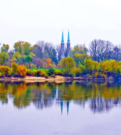 warszawa: view of the towers   of  Saint Florians Cathedral  and the river Vistula. Warsaw. Poland