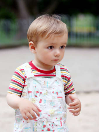 1,5 years old child on a walk. Summer Stock Photo - 12520996