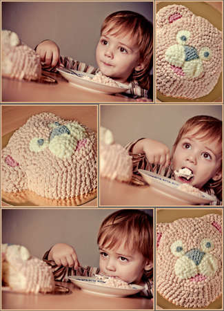 cute boy eats torte  Happy birthday  Collage photo