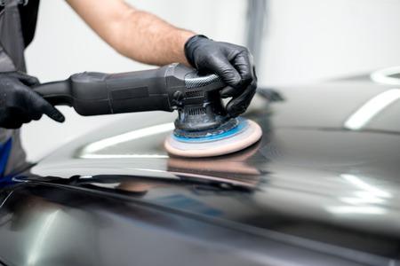 Polished black car polishing machine polished finishing Standard-Bild