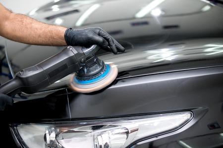 Polished black car polishing machine polished finishing Stok Fotoğraf