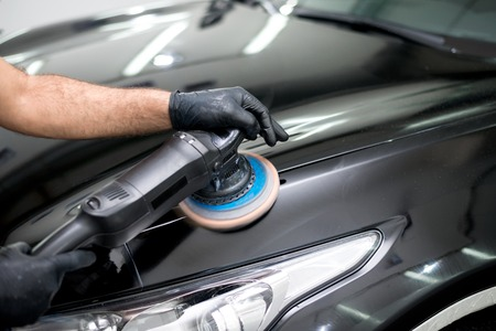 Polished black car polishing machine polished finishing 免版税图像