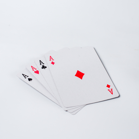 Isolated four aces on a white background Stock Photo