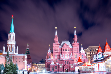 Night red square in the winter before Christmas Stock Photo