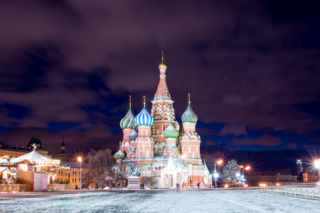 spasskaya: Night red square in the winter before Christmas Stock Photo