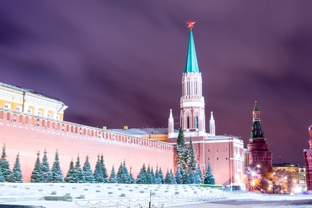 spassky: Night red square in the winter before Christmas Stock Photo