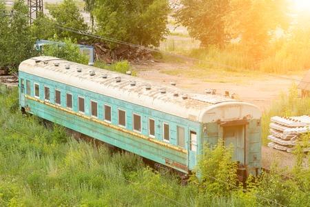 discarded: abandoned train. Stock Photo
