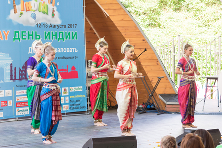 Day of india. Moscow on August 12, 2017. Indian dances on stage Editorial