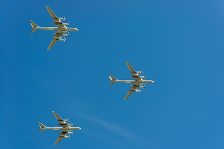 Moscow, Russia. May 9, 2018. Military aircraft against the blue sky