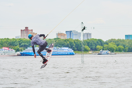 Moscow. Russia. June 12, 2018. A man is riding a wakeboarding.