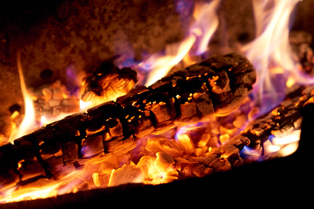 Fire flames on a black background. The fire burns on a black background. Foto de archivo - 116022239