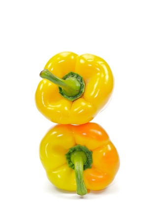 Two yellow bell peppers Stock Photo