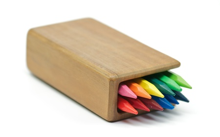 Rainbow Colored pencils in wooden case