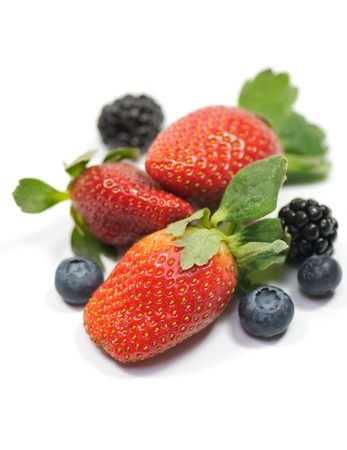 Strawberry, blueberry and blackberry Stock Photo