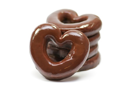 Chocolate hearts-rings in glaze photo