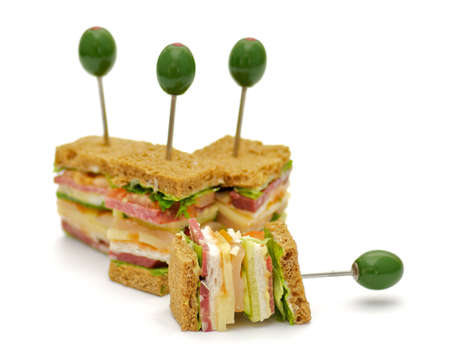 Snacks of Classical BLT Club Sandwich isolated on white background Stock Photo - 12770537