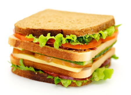 Classical BLT Club Sandwich isolated on white background Stock Photo - 12778715