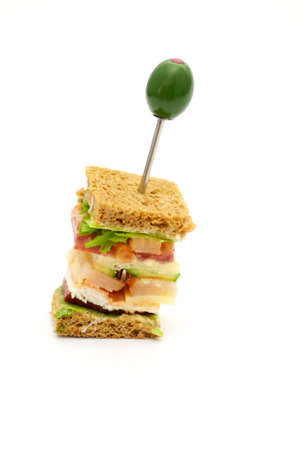 Snack of Classical BLT Club Sandwich isolated on white background Stock Photo - 12770538