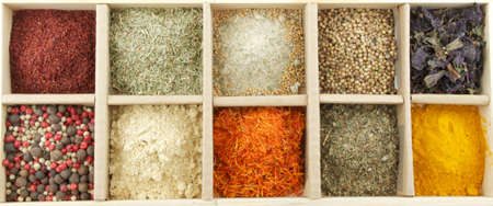 Mix Spicy Spices in box as background