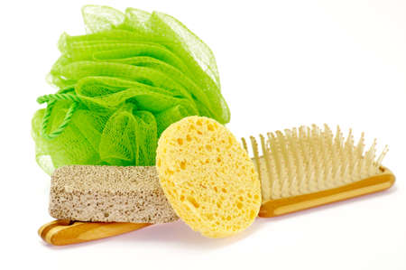 Shower Puff, pumice and massage brush isolated on white background