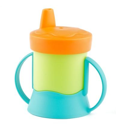 Bunt Baby-Flasche isoliert auf weißem Hintergrund