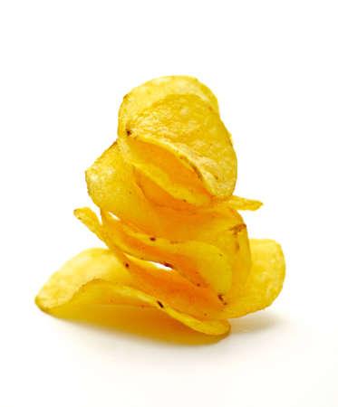 Potato Chips pyramid isolated on white background Foto de archivo
