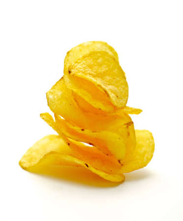 Potato Chips pyramid isolated on white background Stock Photo