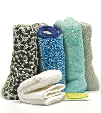 Colorful terry cloth towels isolated on white background Stock Photo - 12956619