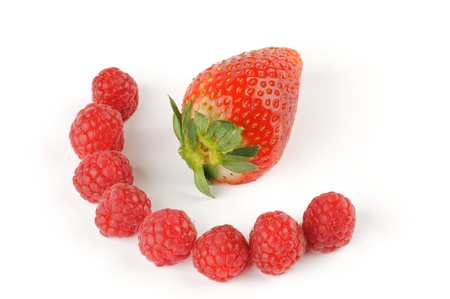 Arrangement of Strawberry and raspberries isolated on white background Stock Photo - 12956611