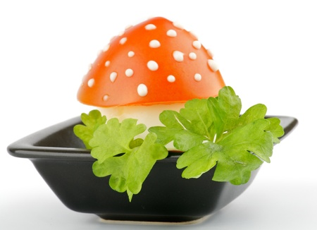 Fly mushroom formed from boiled egg, cover with the tomato mayonnaise  Funny food for children or party  Foto de archivo