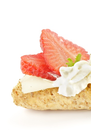 whitebackground: CreaspBread sandwich with cheese and strawberry isolated on whitebackground